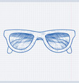 glasses blue hand drawn sketch on lined paper vector image vector image