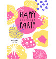 happy birthday party poster with date template vector image