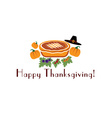 happy thanksgiving with pie pilgrim hat and vector image vector image