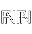 logo sign fn and nf icon sign interlaced letters n vector image vector image
