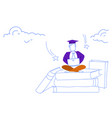 man sitting lotus pose book stack using laptop vector image vector image