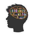 man with books library in brain sketch vector image