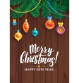 Merry Christmas Happy New Year Tree Decorated vector image