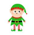 merry christmas santa claus elf icon green hat vector image vector image