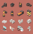 metal industry isometric icons set vector image vector image