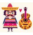 Mexican and guitar vector image vector image