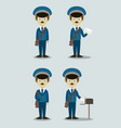 official postman set in uniform vector image vector image