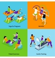 Pregnant Woman Fitness Concept Icons Set vector image