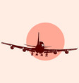 round logo of flying airplane vector image