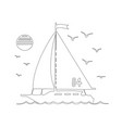 sailing yacht in sea silhouette line art vector image vector image