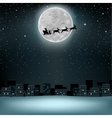 Santa flying deer moon