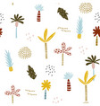 seamless pattern with hand drawn palm trees and vector image