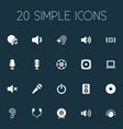 set of simple dj icons vector image