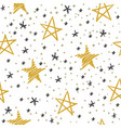 sketch star seamless pattern starry sky vector image