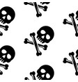 skull and bones black seamless pattern vector image