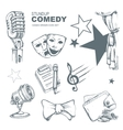 standup comedy icons set vector image vector image