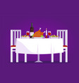 table with tasty dishes and two chairs flat vector image vector image
