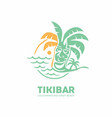 tiki bar logo design with tiki mask on beach vector image