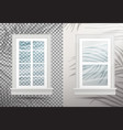 two closed realistic glass windows with shadows vector image vector image