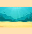 underwater cartoon flat background with fish vector image vector image