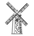 windmill icon cartoon black and white vector image vector image