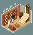 wine cellar isometric composition vector image vector image