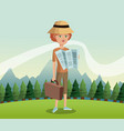 woman traveler tourist with map hat suitcase vector image vector image