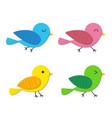 set of happy baby bird in flat style vector image
