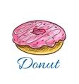 Sweet glazed donut with sprinkles sketch vector image