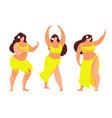 set of hawaiian hula dancer vector image