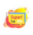 ad icon with super sale and discount label vector image