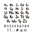 alphabet is rough and uneven retro abc black vector image