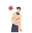 angry man in medical mask near virus bacteria vector image vector image
