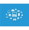 Blue computers device icons vector image vector image