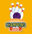 bowling champions league icons vector image