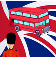 british red bus royal guard flag uk vector image