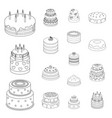 cake and dessert outline icons in set collection vector image vector image