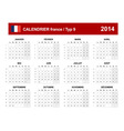 Calendar 2014 French Type 9 vector image vector image