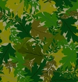 camouflage background leaves green hues vector image vector image