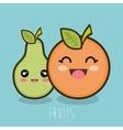 cartoon fruit pear and orange design vector image