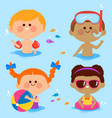 children swimming at sea collection vector image