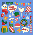 christmas photo booth holiday props santa hat and vector image
