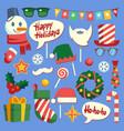christmas photo booth holiday props santa hat and vector image vector image