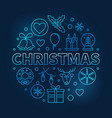 christmas round blue outline symbol on dark vector image