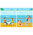 couples relaxing on cruise ship travel vector image vector image