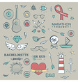 Doodle Marine Hand Drawn Objects Set vector image vector image