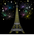 Eiffel tower in night vector image vector image