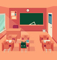 empty classroom interior with blackboard and desks vector image