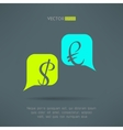 euro and dollar dialog with speech bubbles vector image