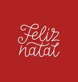 feliz natal calligraphic line art typography vector image vector image